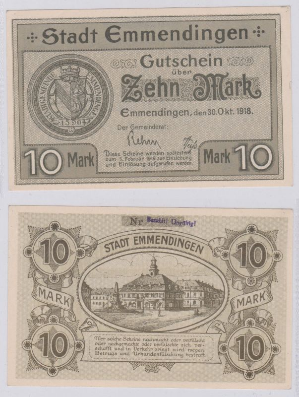 10 Mark Banknoten Notgeld Sparkasse Emmendingen 30.10.1918 (125948)