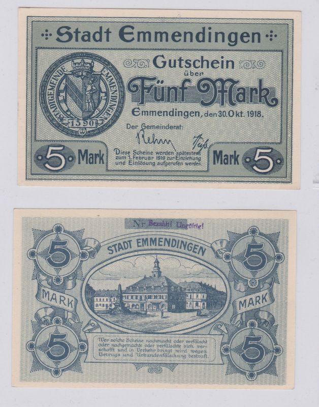 5 Mark Banknoten Notgeld Sparkasse Emmendingen 30.10.1918 (125907)