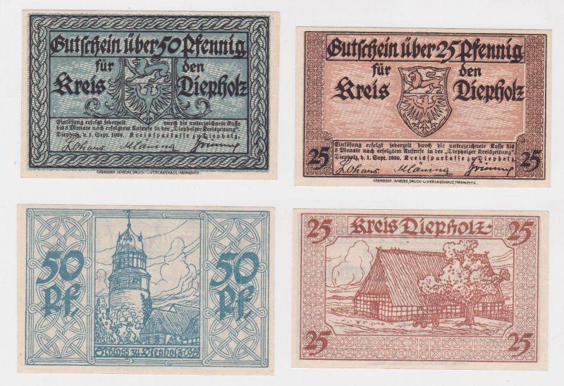 25 & 50 Pfennig Banknoten Notgeld Kreis Diepholz 1.9.1920 (125895)