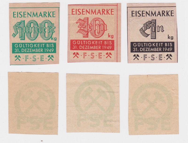 1, 10 und 100 Kilo Wertmarken Eisenmarken FSE ohne Datum (125906)