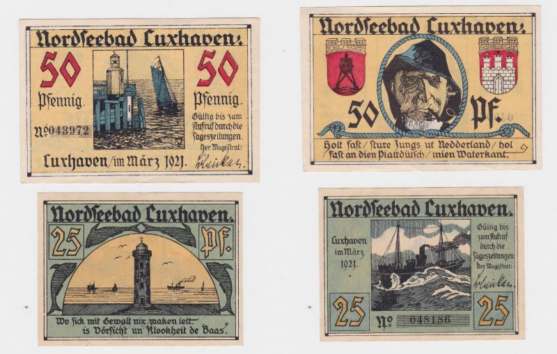 25 & 50 Banknoten Notgeld der Stadt Cuxhaven 1921 (126077)