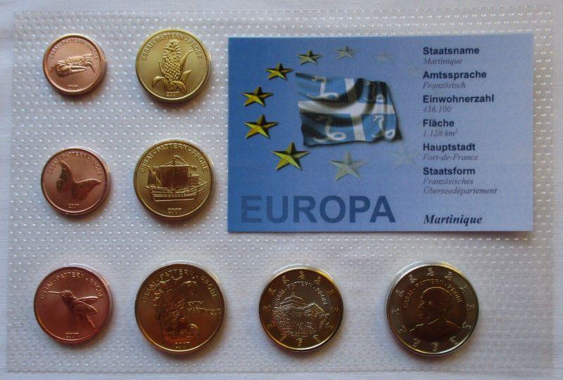 Proben Kursmünzsatz Martinique 8 Münzen 1 Ceros - 2 Europ 2007 (126068)