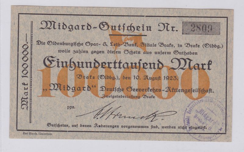 100000 Mark Banknote Brake (Oldenburg)