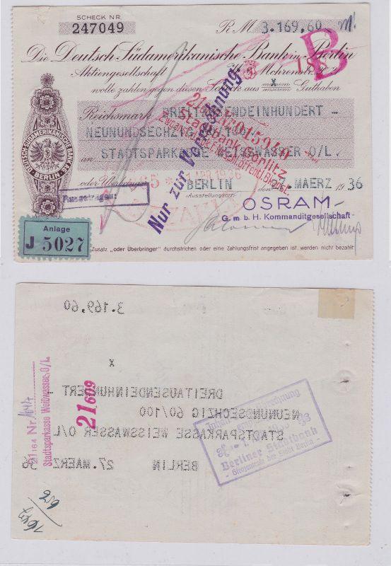 Scheck der Deutsch Südamerikanischen Bank in Berlin 1936 (126383)