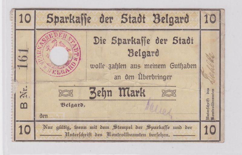 10 Mark Banknote Sparkasse der Stadt Belgard 28.11.1918 (125887)