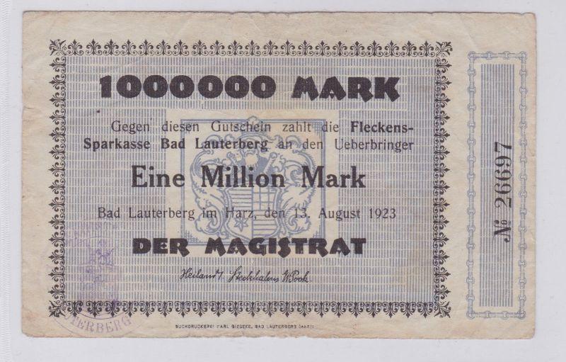 1 Million Mark Banknote Inflation Stadt Lauterberg 13.08.1923 (126204)