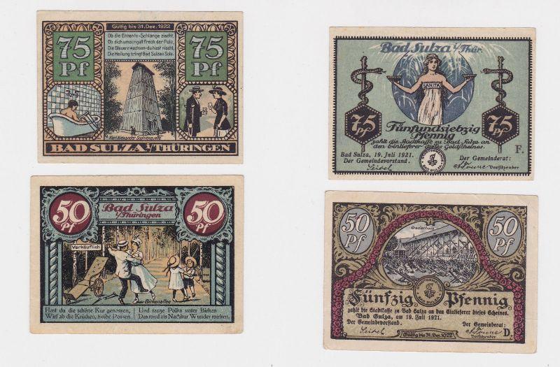 50 & 75 Pfennig Banknoten Notgeld Stadt Bad Sulza 19.7.1921 (126539)