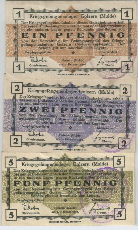 1, 2 & 5 Pfennig Banknoten Kriegsgefangenenlager Golzern Mulde 1.WK (126550)