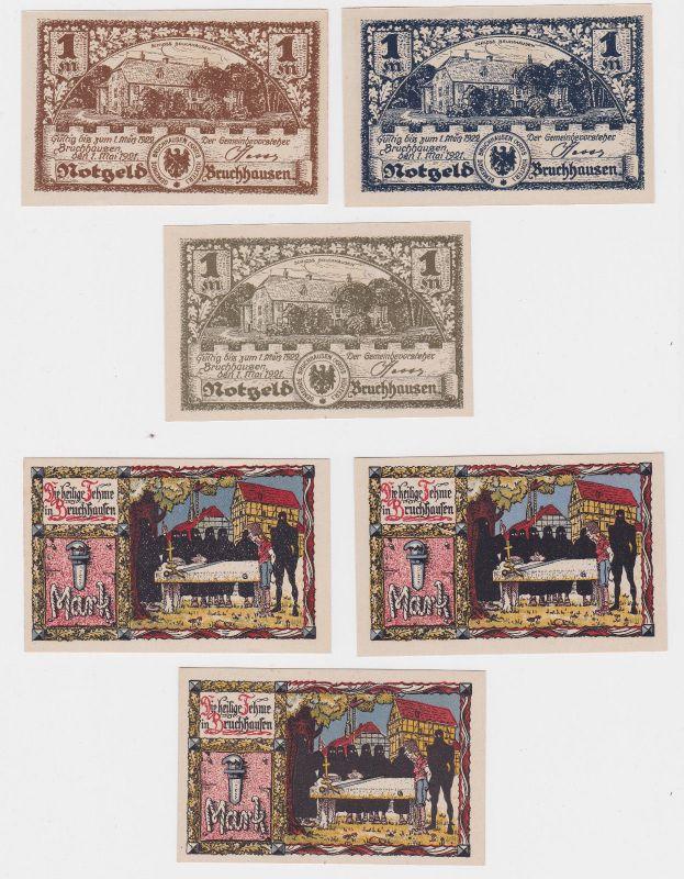 3 x 1 Mark Banknoten Notgeld Gemeinde Bruchhausen 1.5.1921 (126377)