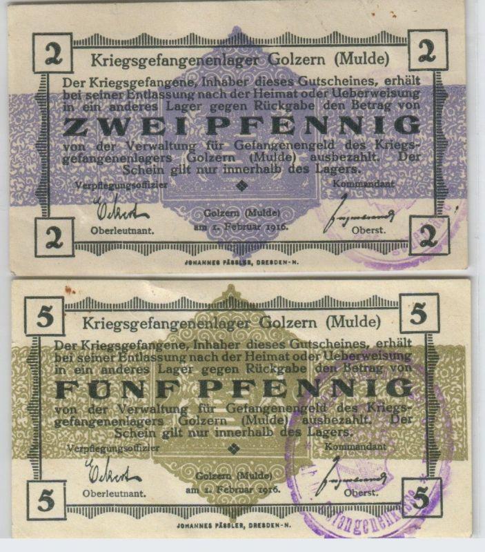2 & 5 Pfennig Banknoten Kriegsgefangenenlager Golzern Mulde 1.Weltkrieg (126533)