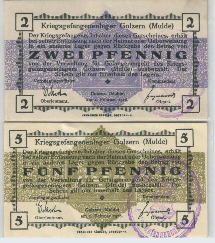2 & 5 Pfennig Banknoten Kriegsgefangenenlager Golzern Mulde 1.Weltkrieg (126532)