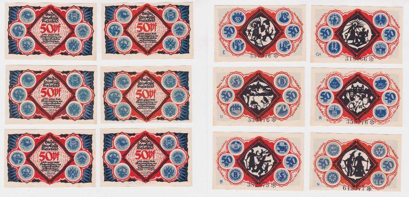 6 x 50 Pfennig Banknoten Notgeld Stadt Bielefeld 15.5.1921 (126232)