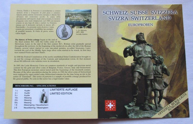 Proben Kursmünzsatz Schweiz 8 Münzen 1 Ceros - 2 Europ 2003 im Blister (126197)