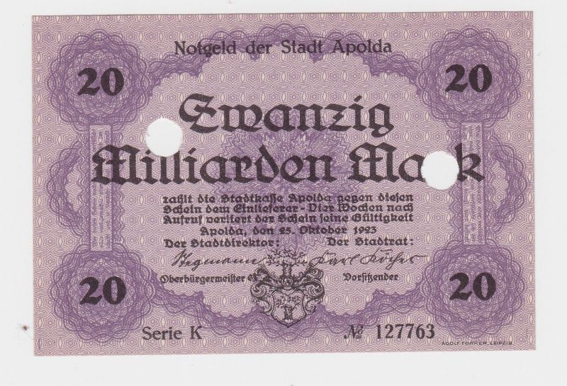 20 Millionen Mark Banknote Inflation Stadt Apolda 25.09.1923 (126542)
