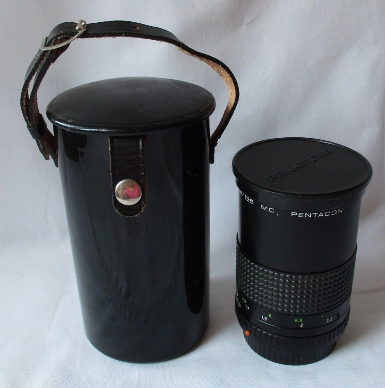 Pentacon 2,8/135 M42 F/2,8 135mm Tele *15 Lamellen OVP Leder-Etui (107379) 0