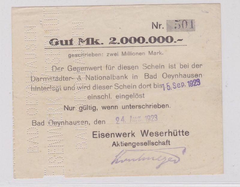 2 Millionen Mark Banknote Bad Oeynhausen Eisenwerk 24.8.1923 (126218)