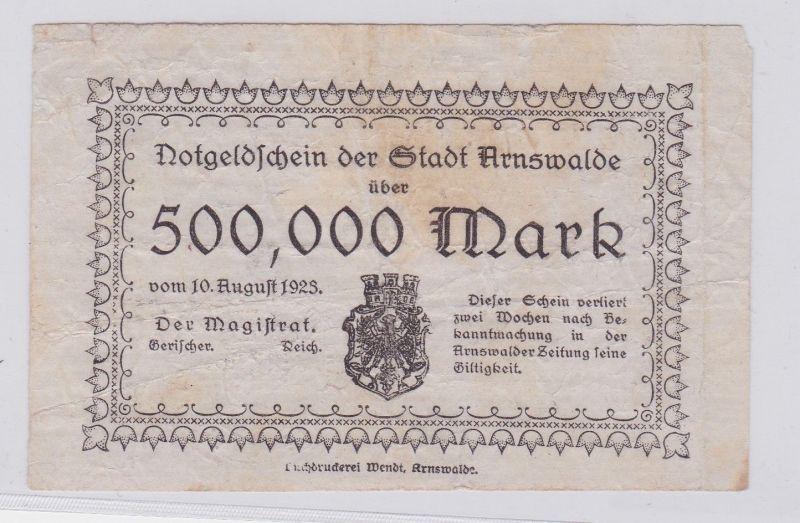 500000 Mark Banknote Inflation Stadt Arnswalde 10.8.1923 (126562)