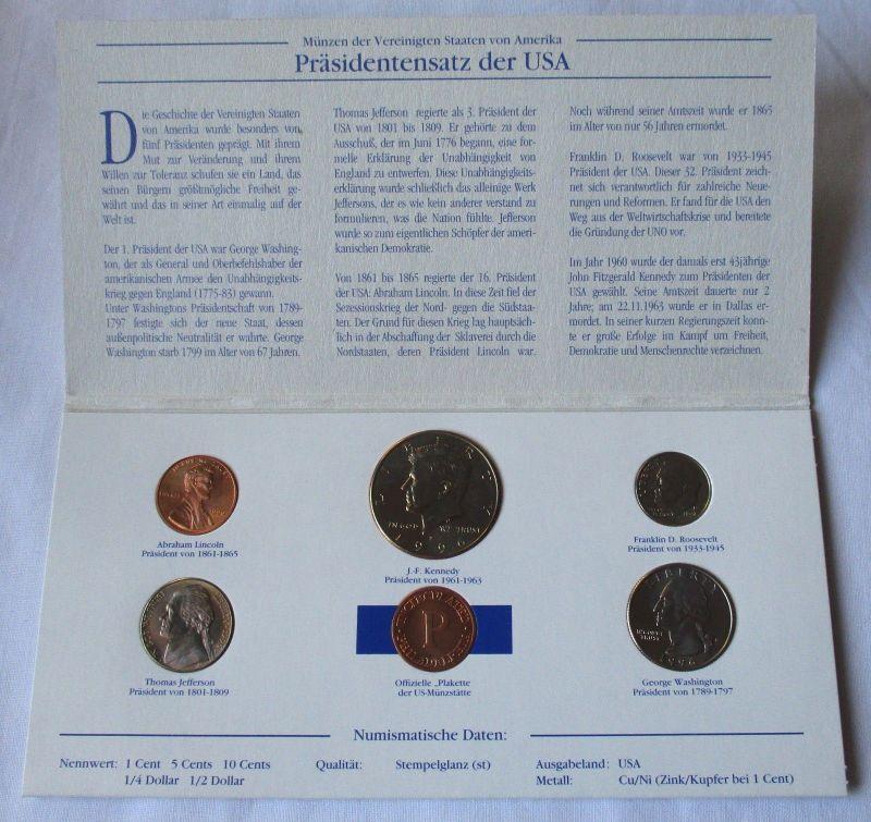 Kursmünzsatz mit 5 Münzen die berühmtesten Präsidenten der USA (126178)