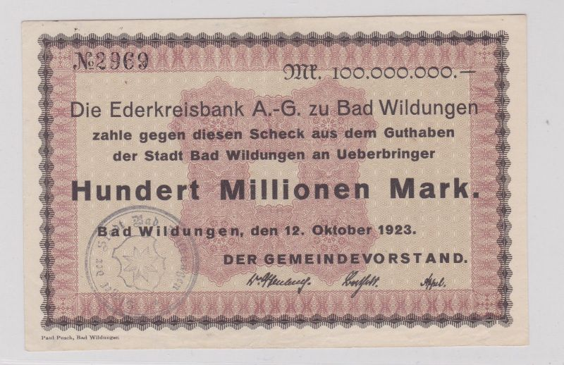100 Millionen Mark Banknote Inflation Ederkreisbank Bad Wildungen 1923 (125916)