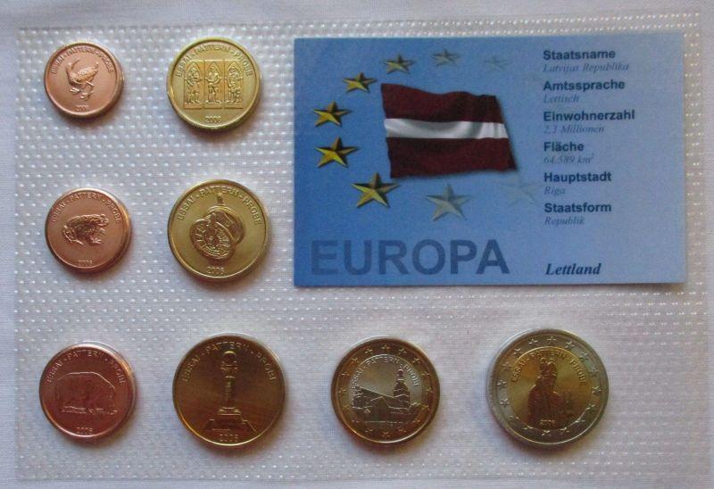 Proben Kursmünzsatz Lettland 8 Münzen 1 Ceros - 2 Europ 2006 im Blister (125921)