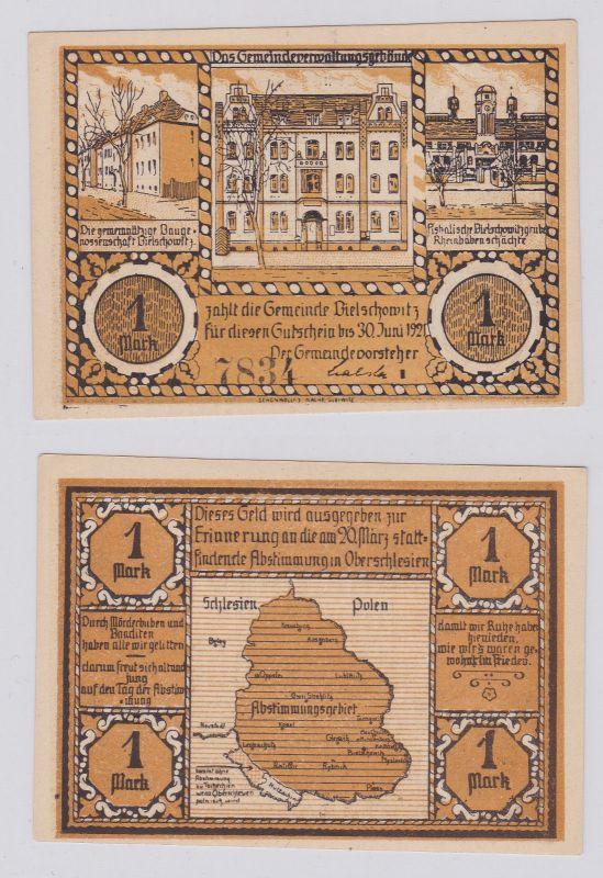 1 Mark Banknote Notgeld Gemeinde Bielschowitz 30.06.1921 (Reihe I) (125922)