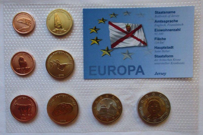 Proben Kursmünzsatz Jersey 8 Münzen 1 Ceros - 2 Europ 2006 im Blister (126046)