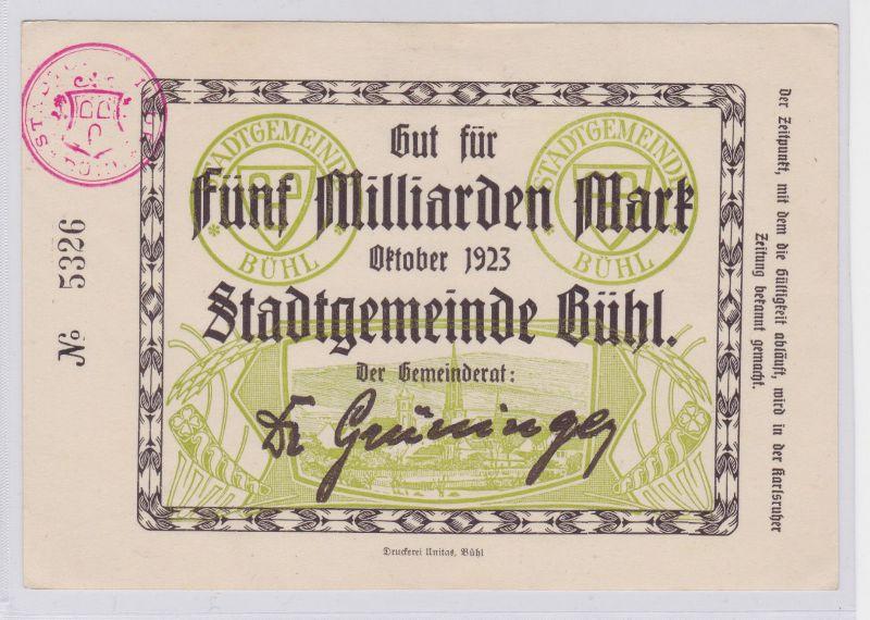 5 Milliarden Mark Banknote Stadtgemeinde Bühl Oktober 1923 (126212)