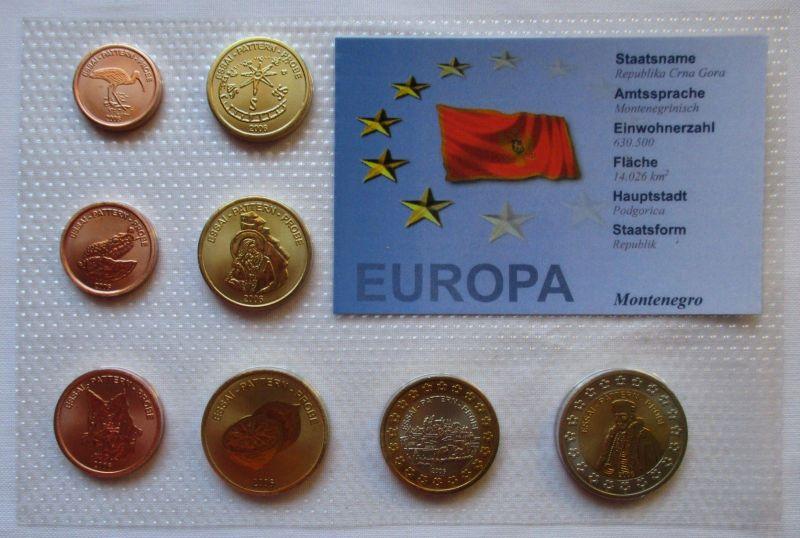 Proben Kursmünzsatz Montenegro 8 Münzen 1 Ceros - 2 Europ 2006 (126241)