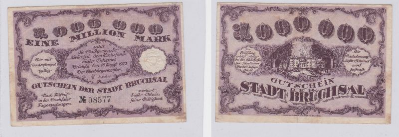 1 Million Mark Banknote Inflation Stadt Bruchsal 15.08.1923 (125915)
