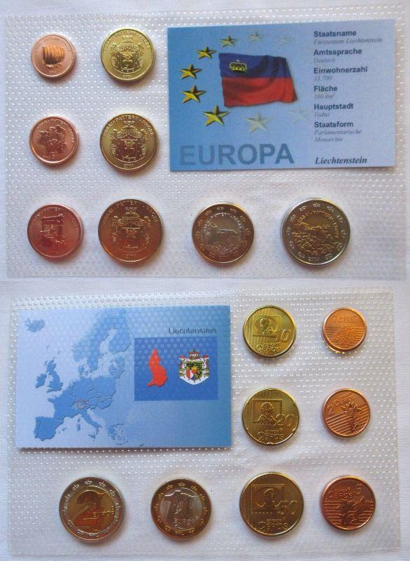 Proben Kursmünzsatz Liechtenstein 8 Münzen 1 Ceros - 2 Europ 2004 (126038)