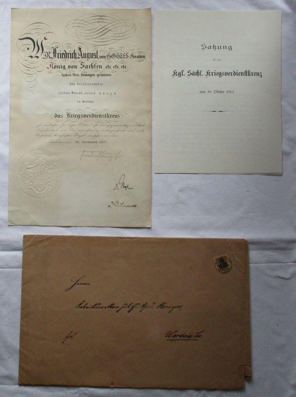 Seltene Urkunde Sachsen zum Kriegsverdienstkreuz 1916 (126561)