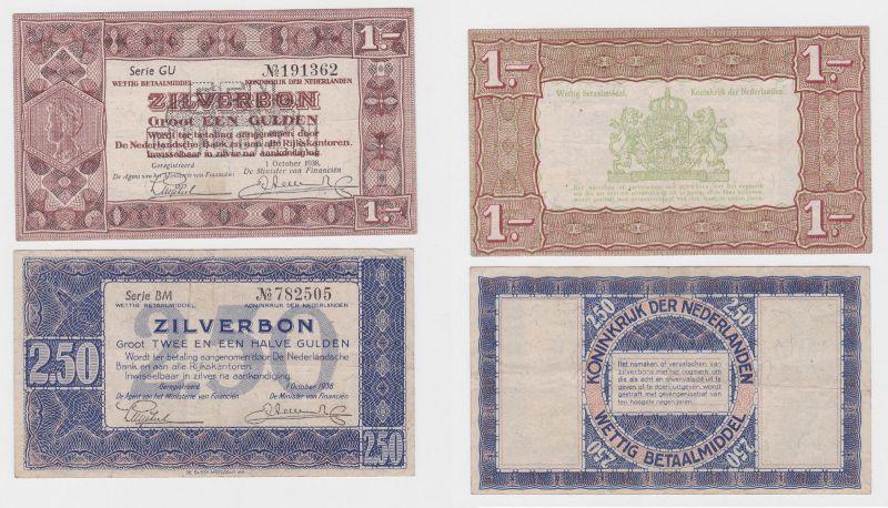 1 und 2,5 Gulden Banknoten Zilverbon Niederlande 1.10.1938 (121496)