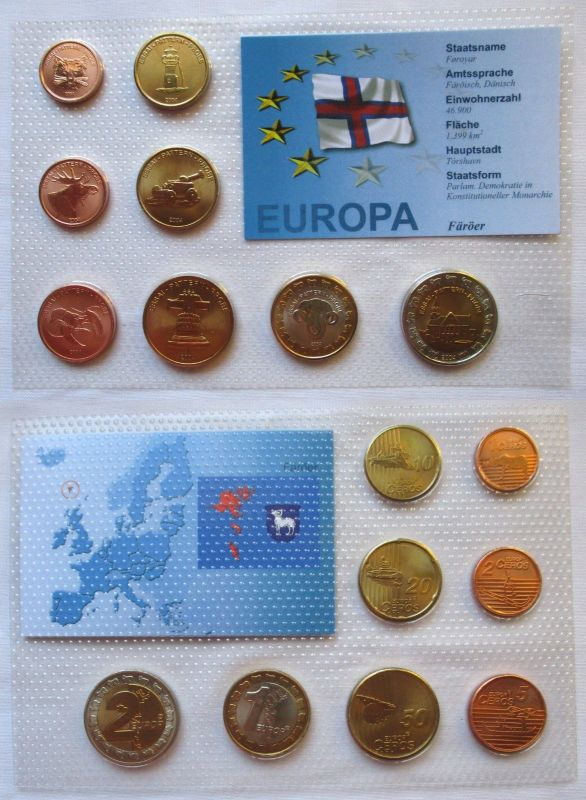 Proben Kursmünzsatz Färöer 8 Münzen 1 Ceros - 2 Europ 2004 im Blister (125878)