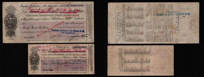 2 seltene Banknoten Inflation Leipzig Leutzsch 1923 (121995)
