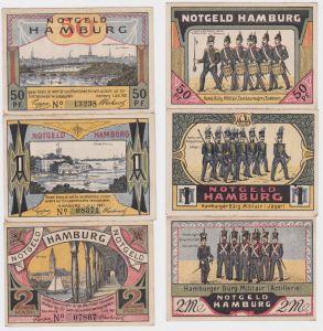 50 Pfennig 1 & 2 Mark NOTGELD Hamburger Bürgermilitär 1921 (120430)
