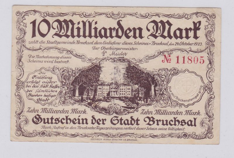 1 Milliarde Mark Banknote Inflation Stadt Bruchsal 24.10.1923 (125908)