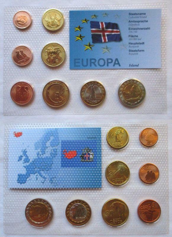 Proben Kursmünzsatz Island 8 Münzen 1 Ceros - 2 Europ 2004 im Blister (126018)