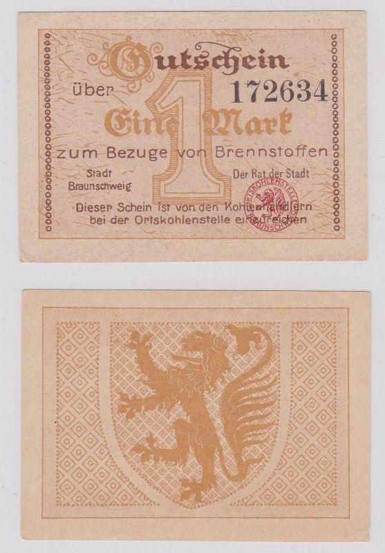 1 Mark Banknote zum Bezug von Brennstoffen Stadt Braunschweig (126206)