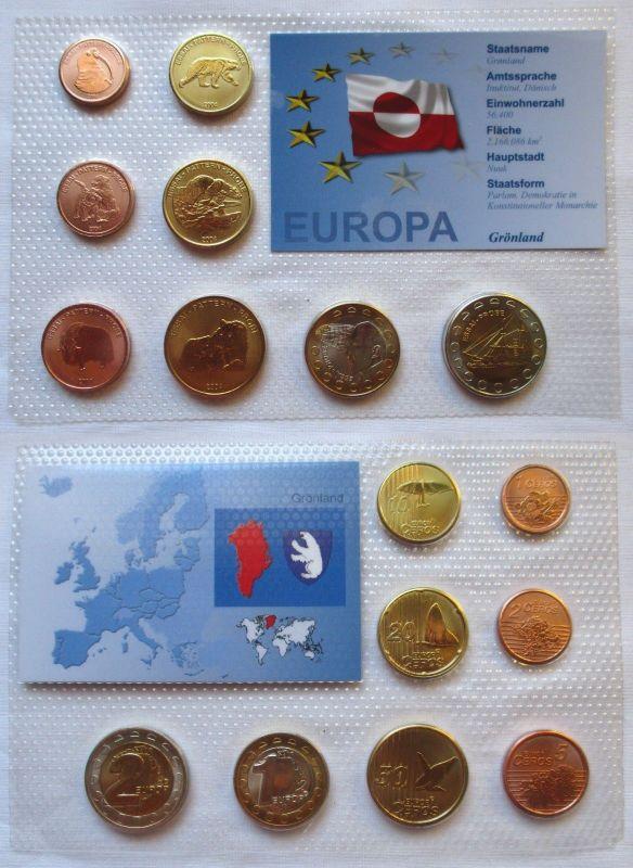 Proben Kursmünzsatz Grönland 8 Münzen 1 Ceros - 2 Europ 2004 im Blister (125937)
