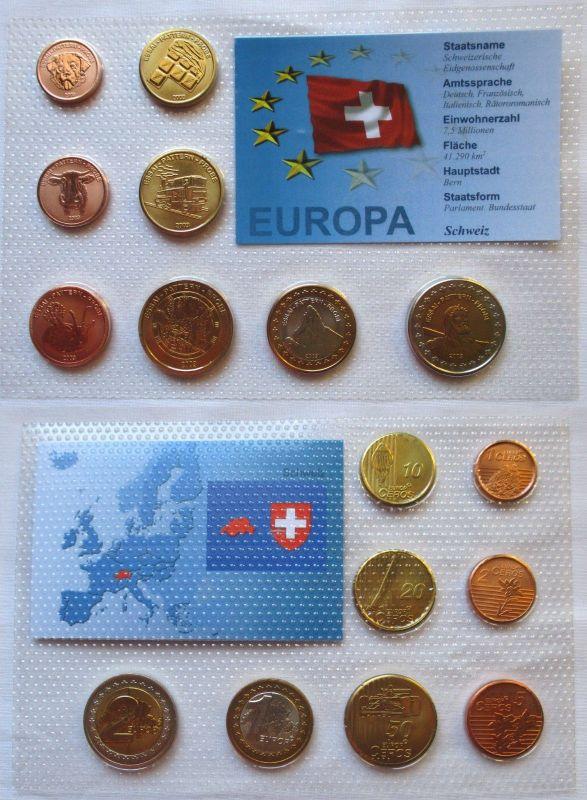 Proben Kursmünzsatz Schweiz 8 Münzen 1 Ceros - 2 Europ 2003 im Blister (125889)
