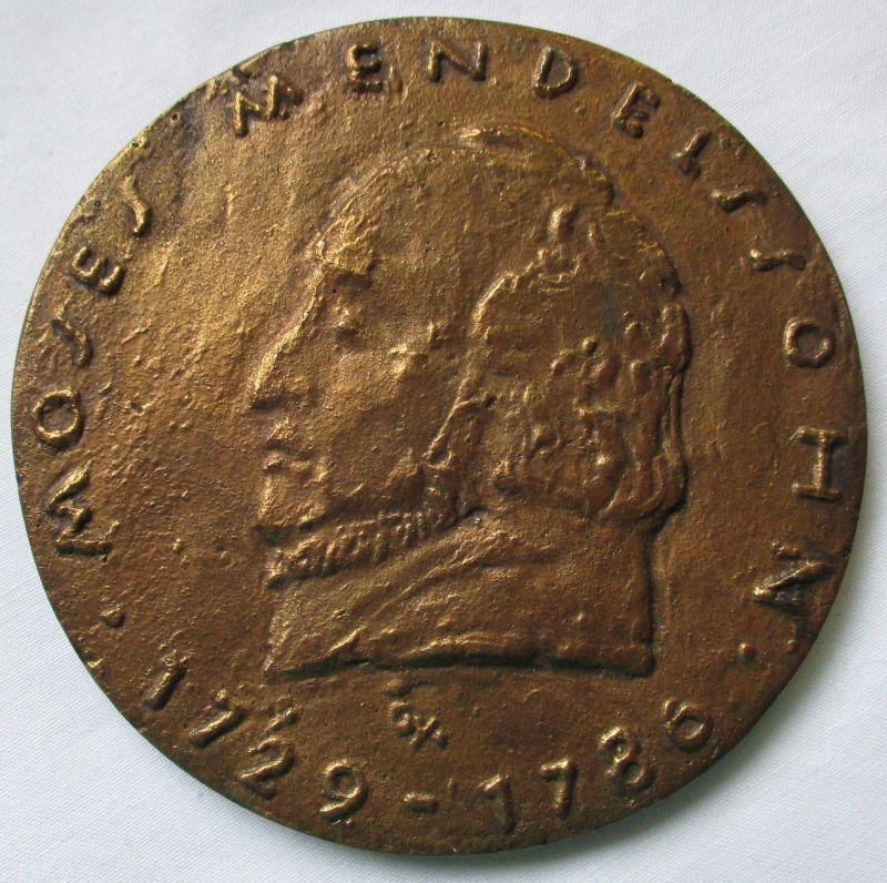 Seltene Bronzemedaille Portrait Moses Mendelssohn 1729-1786 von Geyer (124652)