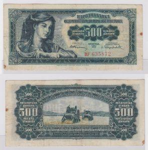 500 Dinar Banknote Jugoslawien 1.Mai 1955 (121612)