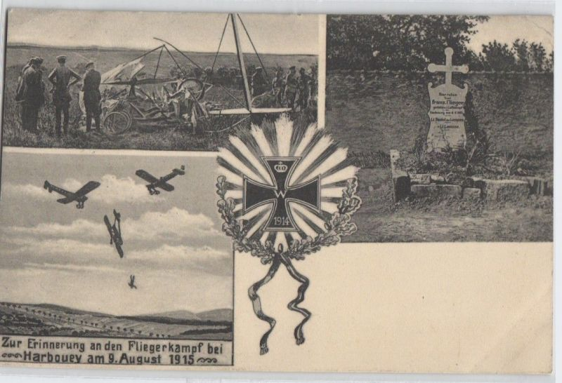 92490 AK Zur Erinnerung an den Fliegerkampf bei Harbouey am 9. August 1915