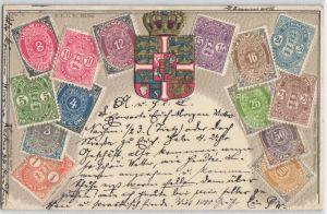 92486 Briefmarken Präge AK Dänemark 1 bis 100 Öre Marken 1904