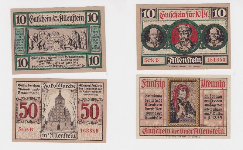 10 & 50 Pfennig Banknote Notgeld Stadt Allenstein Ostpreussen 1.4. 1921 (126394)