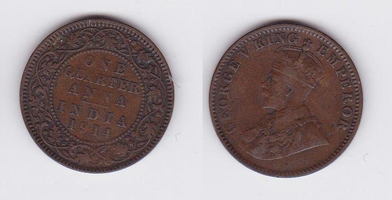 1/4 Anna Kupfer Münze East India Company 1914 (113883)