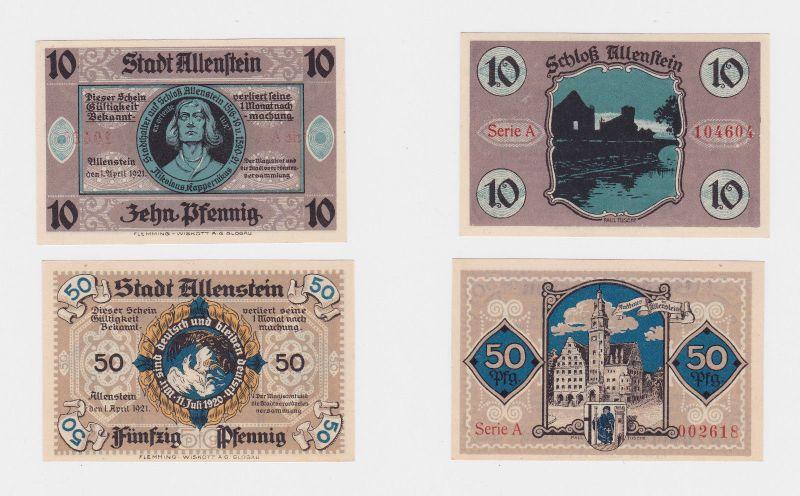 10 & 50 Pfennig Banknote Notgeld Stadt Allenstein Ostpreussen 1.4. 1921 (126220)