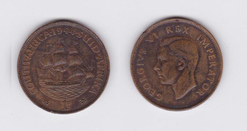 1 Penny Kupfer Münze Südafrika Segelschiff 1944 (117118)