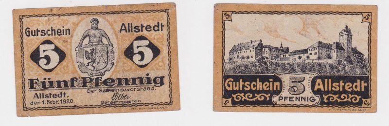 5 Pfennig Banknote Notgeld Gemeinde Allstedt 1.Februar 1920 (126233)