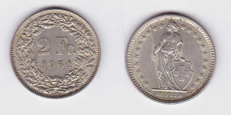 2 Franken Silber Münze Schweiz 1961 B (117250)